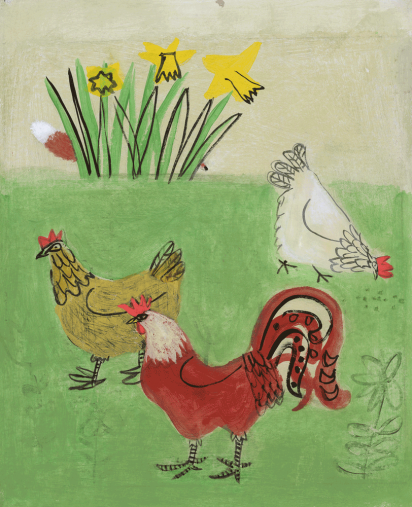 Cover Art: Slightly Foxed Issue 9, Emma McClure, 'Chickens