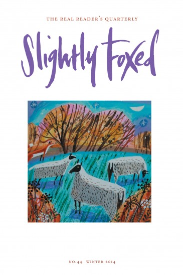 Slightly Foxed Issue 44, Mary Sumner, 'Sheep in Frost' Mary Sumner is an artist and printmaker who lives and works in mid-Devon. Her work is rooted in her love for the English countryside and the creatures that inhabit it. Observations from her daily walks inspire her paintings, and plants, seascapes and gardens are also recurring themes. Her work can be seen in galleries throughout the UK and on her website: www.marysumner.com.