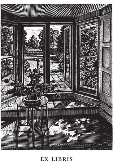 Howard Phipps bookplate Water Meadow, Wood Engraving