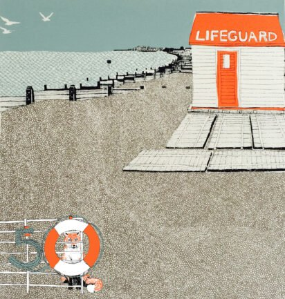 Cover Artist: Slightly Foxed Issue 50, Clare Halifax, 'Whitstable Lifeguard'
