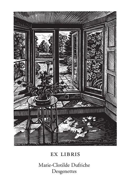 Water meadow from a garden doorway (500 Bookplates)