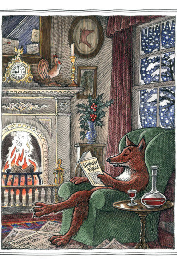 Slightly Foxed Christmas Card No. 1, A Cheering Glass (Front)