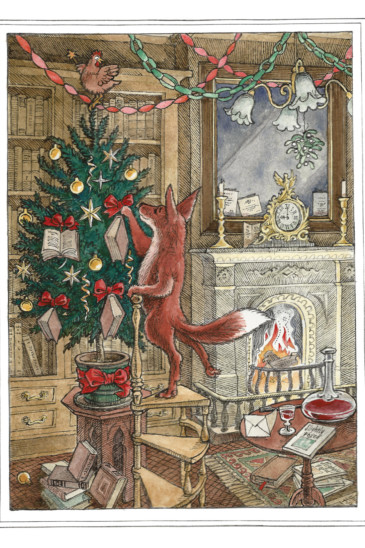Slightly Foxed Christmas Card No. II, Decorating the Tree (Front)