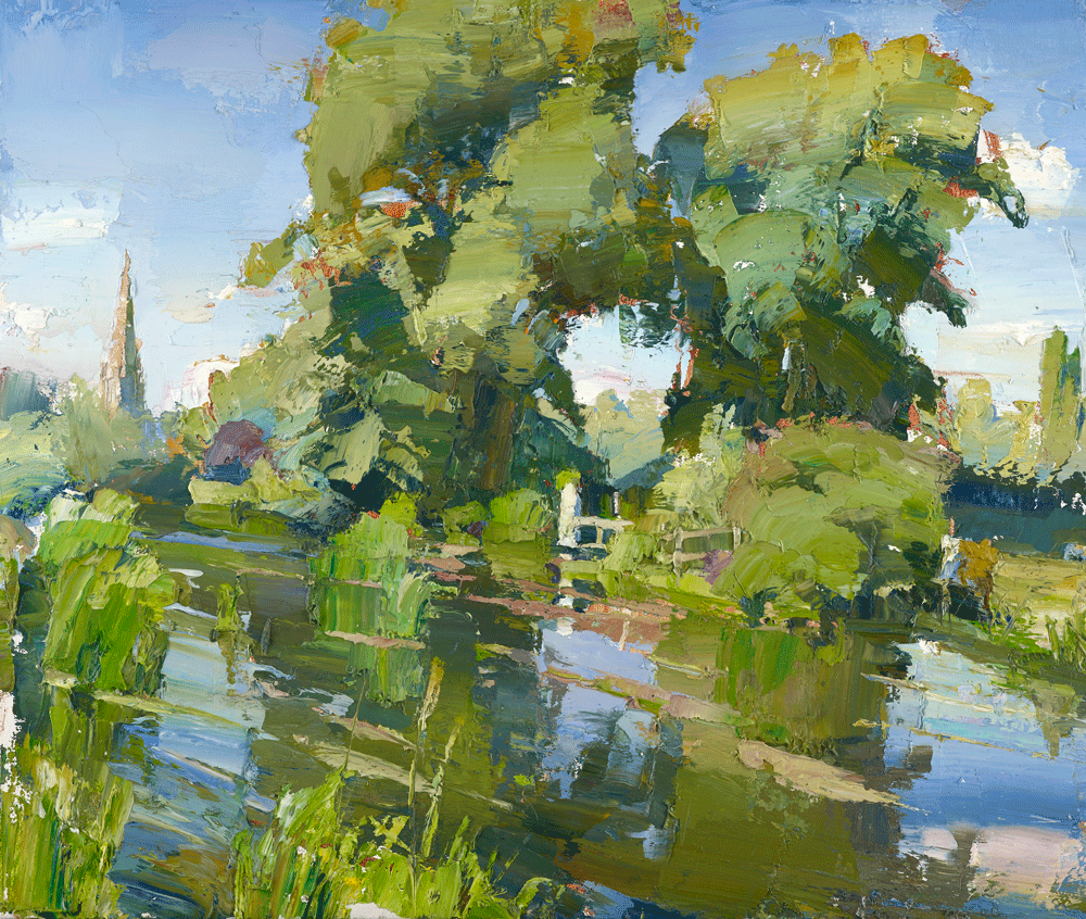 Slightly Foxed Cover Art, Issue 54, Oliver Akers Douglas, The Avon at Salisbury, oil on gesso panel