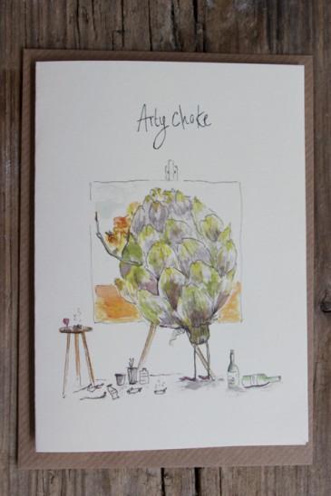 Puns & Buns greetings card, 'Artychoke'. Single card, blank inside, brown envelope, individual cellophane bag.