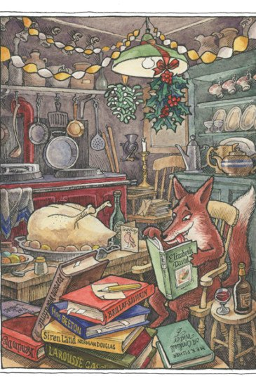 Slightly Foxed Christmas Card: No III, Preparing the Bird (Front)