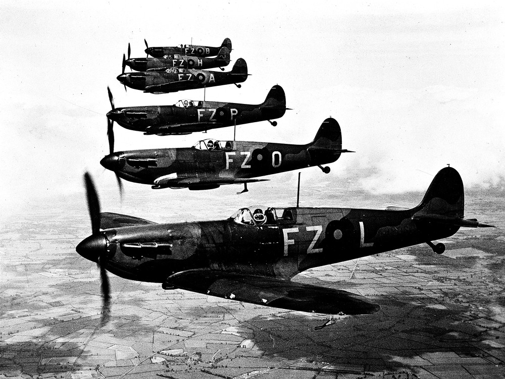 Slightly Foxed Issue 55 illustration, spitfires in formation