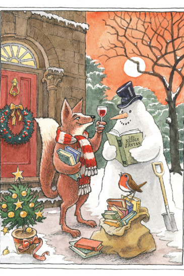 Slightly Foxed Christmas Card: No IV, Toasting the Snowman