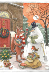 Slightly Foxed Christmas Card: No IV, Toasting the Snowman (Front)
