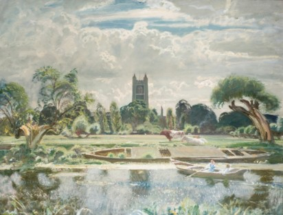 Munnings Art Museum: Barge on the Stour at Dedham Sir Alfred Munnings 1930's (c) The Estate of Sir Alfred Munnings