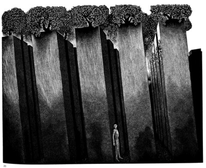 Hilary Paynter, In-Exile, wood engraving based on the Hoffmann Garden of the Jewish Museum, Berlin (detail) - Adam Sisman, Hugh Trevor-Roper