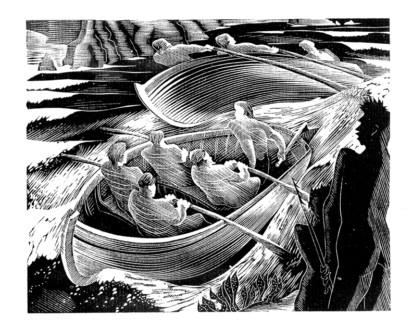 Peter Barker-Mill wood engraving - Charles Elliott on Robert Hughes, The Fatal Shore in Slightly Foxed 62
