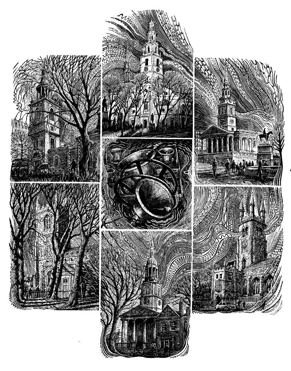 John Bryce, 'Oranges and Lemons', wood engraving on seven endgrain boxwood blocks, Marianne Fisher on Jasper Snowdon, Diagrams